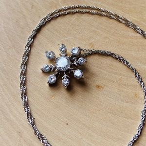 .925 Sterling Silver Crystal Snowflake Necklace